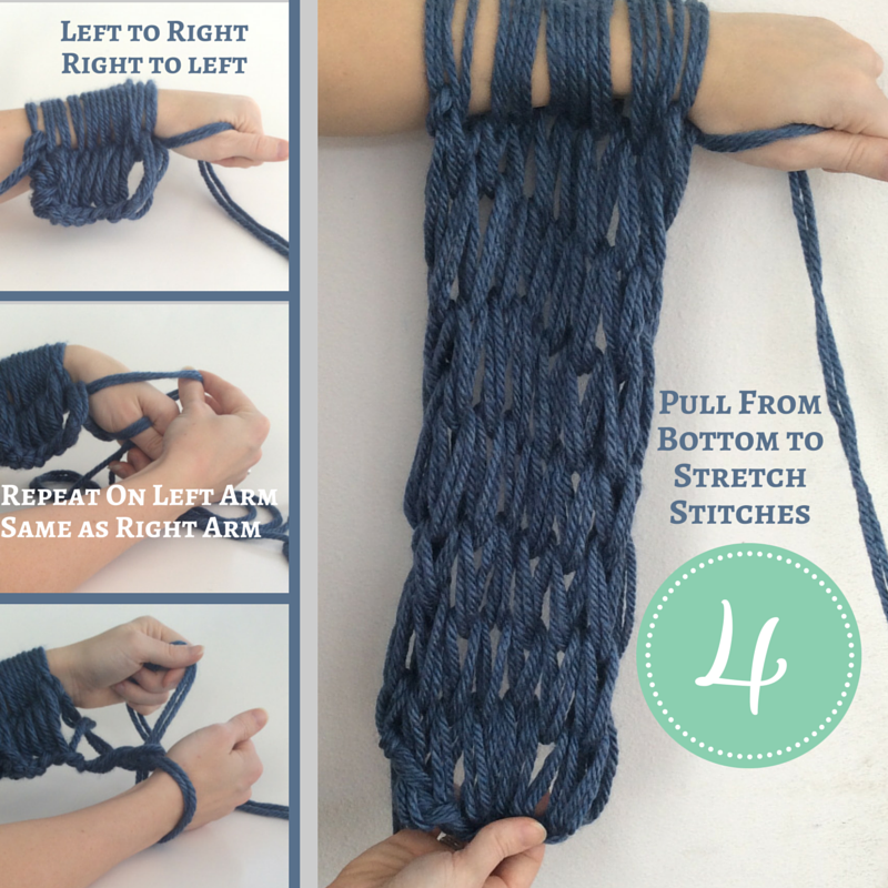 How To Arm Knit Purl Stitch : How to Arm Knit a Scarf Hapiness is Handmade