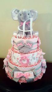Pink Elephant Diaper Cake